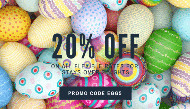 Promo-code-EGG5-20% on stays >3 days